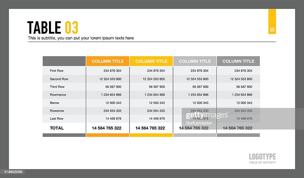 Five Columns Table Slide