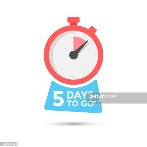 five days to go badge vector design on isolated white background. - 2 5 months stock illustrations