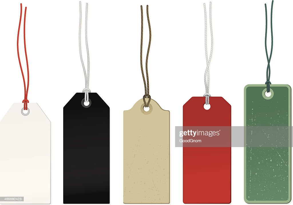 Five different colored price tags