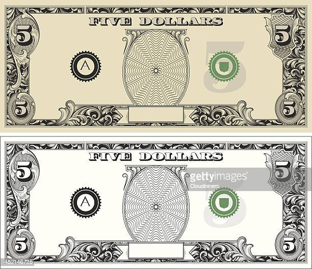 five dollar bill - dollar sign stock illustrations, clip art, cartoons, & icons