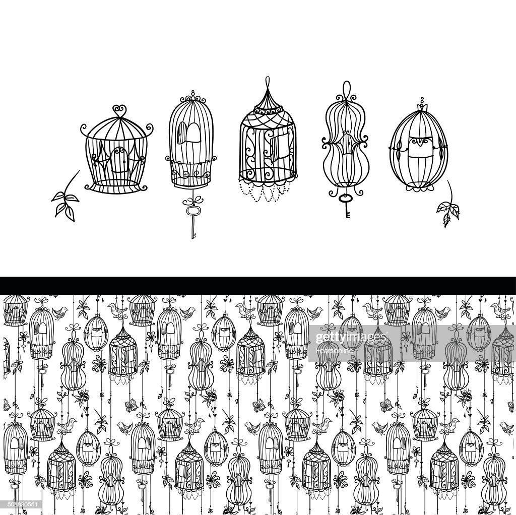 Five doodle cages and seamless pattern set.