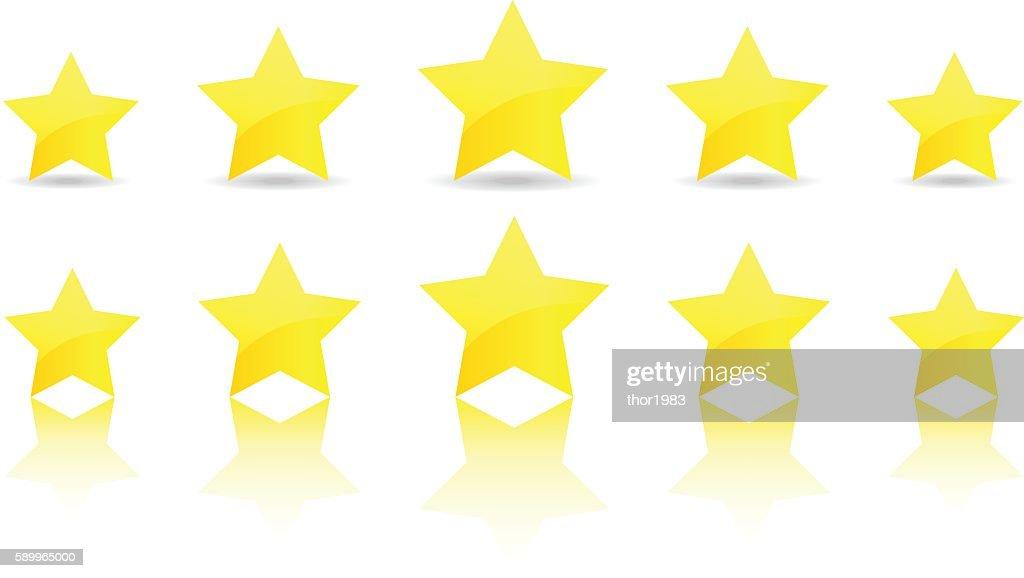 five gold star icon set vector award quality illustration