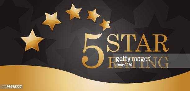 five golden rating star banner - celebrities stock illustrations