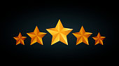 Five golden rating star vector illustration in gray black background
