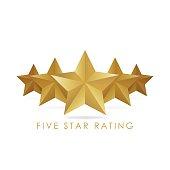 Five golden rating star vector illustration