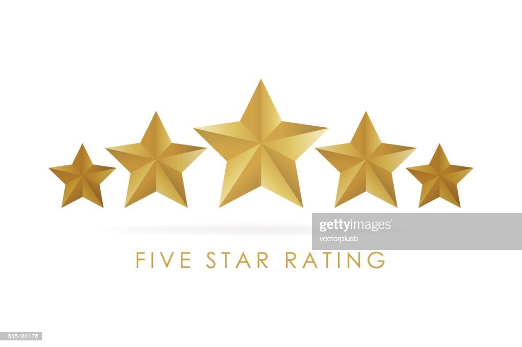Five golden rating star vector illustration