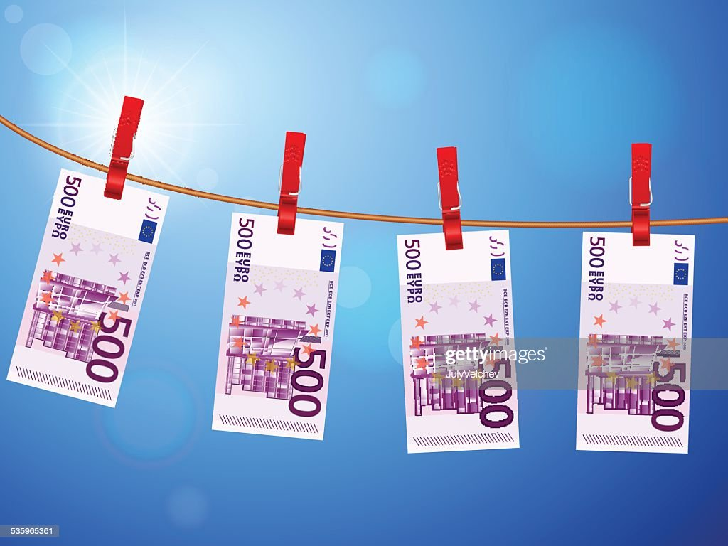 five hundred euro banknotes on clothesline : Vector Art