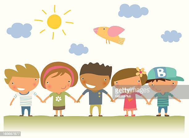 five illustrated children holding hands - school students stock illustrations, clip art, cartoons, & icons