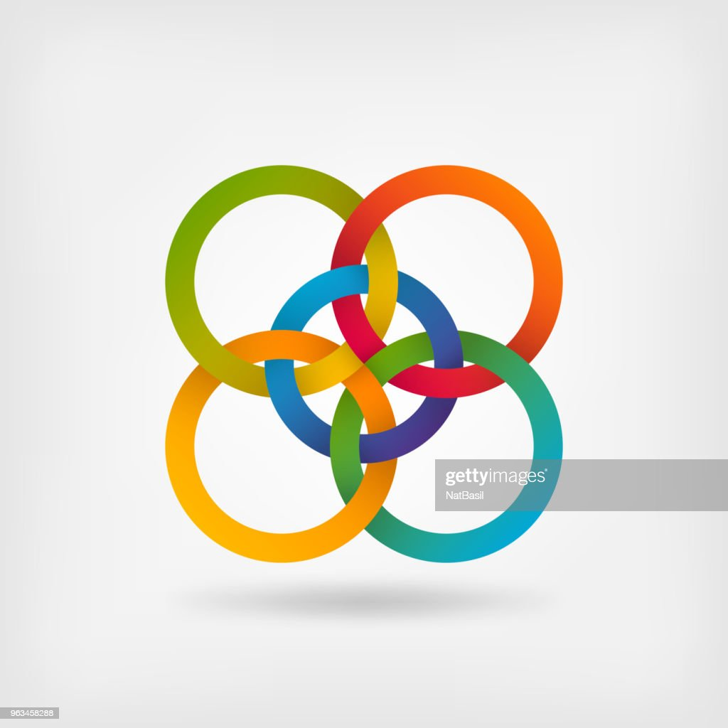 five interlocked circles in gradient rainbow colors