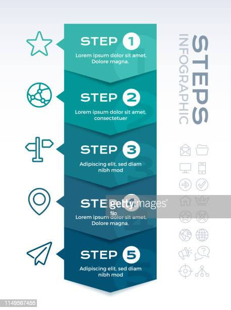five item infographic - steps stock illustrations