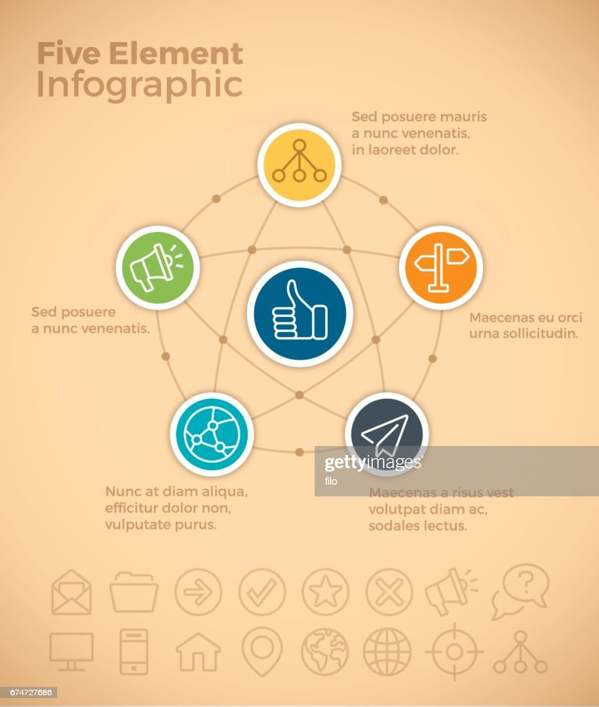 Five Item Infographic Web Network : stock illustration