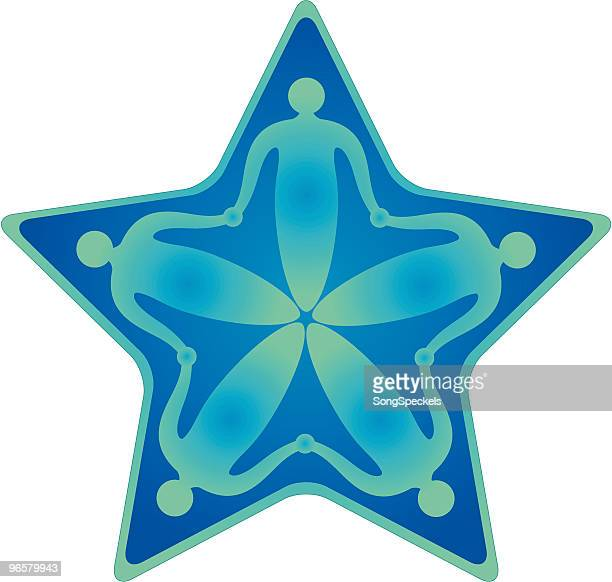 five linked people in star shape icon - androgynous stock illustrations, clip art, cartoons, & icons