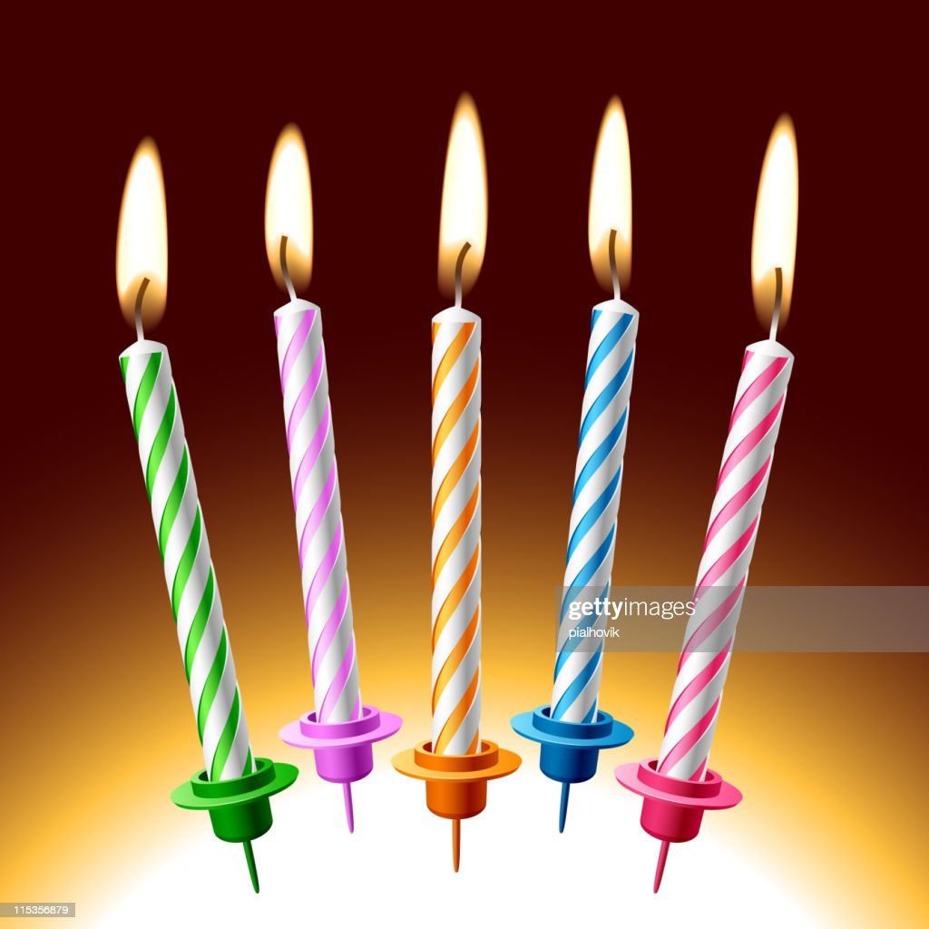 five lit birthday candles of various colors vector art getty images
