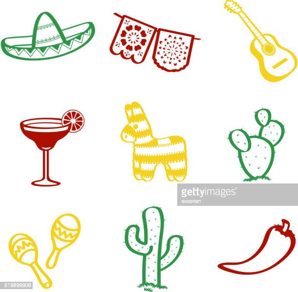 cinco de mayo doddle - cinco de mayo stock illustrations