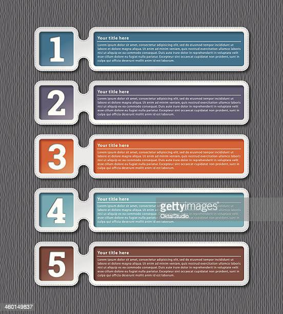 Five multicolored infographic labels