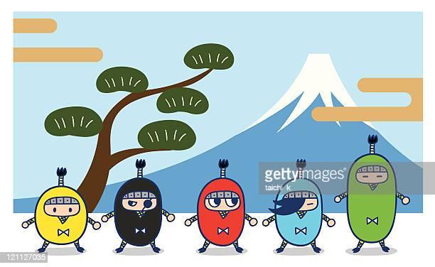 five ninja - top knot stock illustrations, clip art, cartoons, & icons