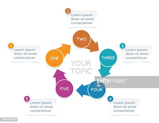 5 つのオプション矢印インフォ グラフィック グラフ - 五つ点のイラスト素材/クリップアート素材/マンガ素材/アイコン素材