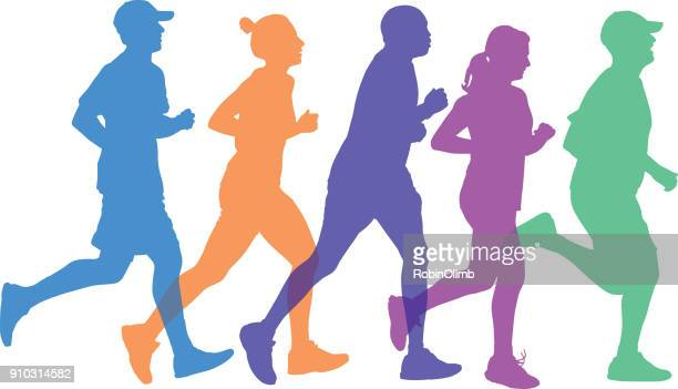 five people running together silhouettes - track event stock illustrations