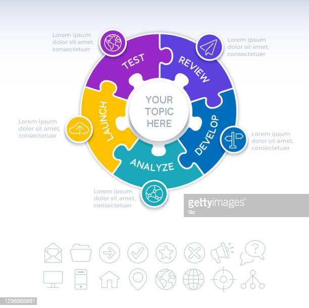 ilustraciones, imágenes clip art, dibujos animados e iconos de stock de elemento infográfico del rompecabezas círculo de cinco piezas - parte de