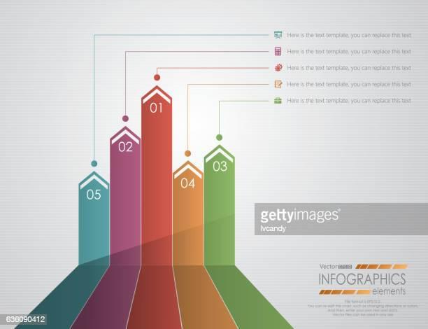 five progress arrows - five objects stock illustrations