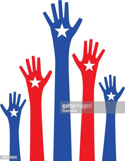 five raised hands with stars - local politics stock illustrations