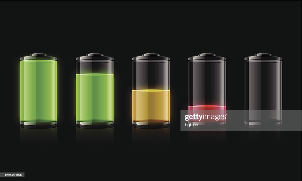 Five representations of battery charge from full to empty