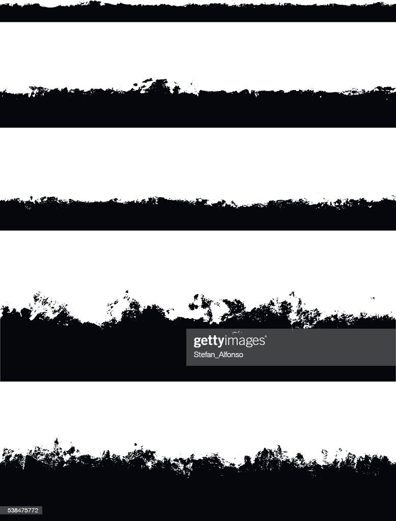 Five seamless borders isolated on white