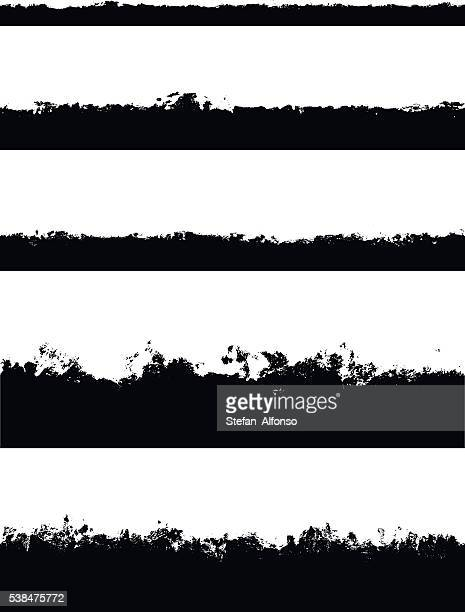 five seamless borders isolated on white - at the edge of stock illustrations