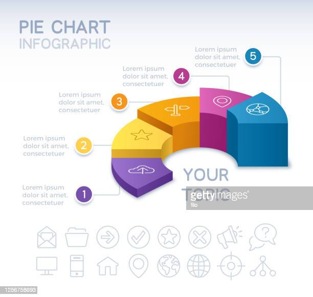 five section 3d infographic pie chart - five objects stock illustrations
