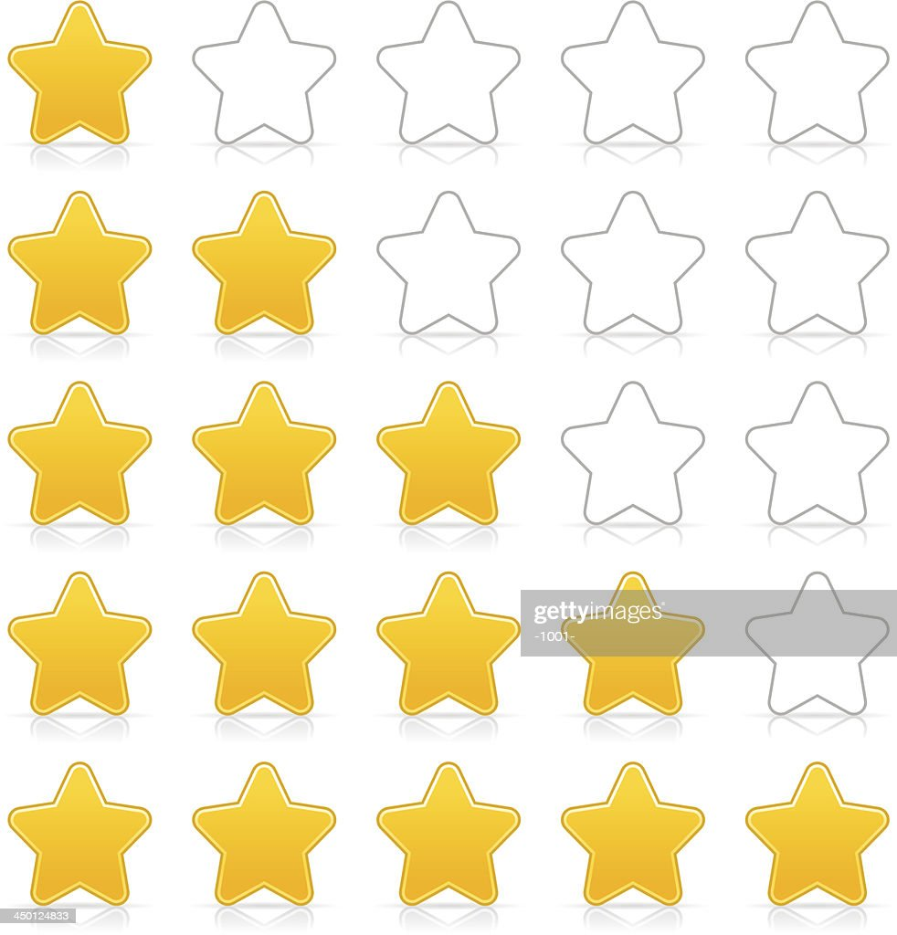 Five sign yellow star web icon button internet rating