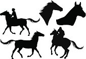 five silhouettes of horses and riders