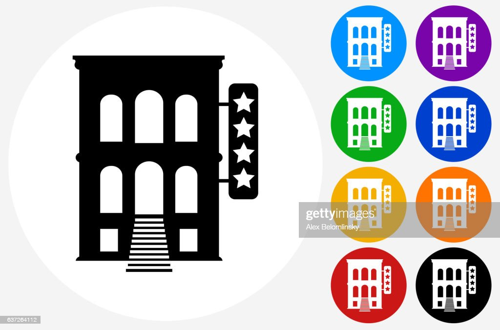 Five Star Hotel Icon On Flat Color Circle Buttons Vector Art