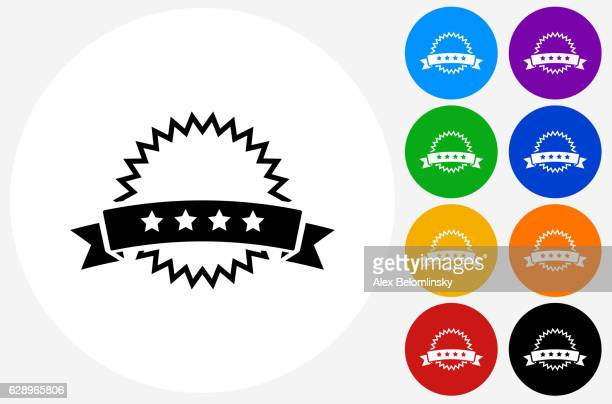 stockillustraties, clipart, cartoons en iconen met five star rating icon on flat color circle buttons - vijf dingen
