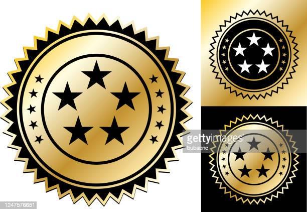 五つ星評価アイコン - ファーストクラス点のイラスト素材/クリップアート素材/マンガ素材/アイコン素材