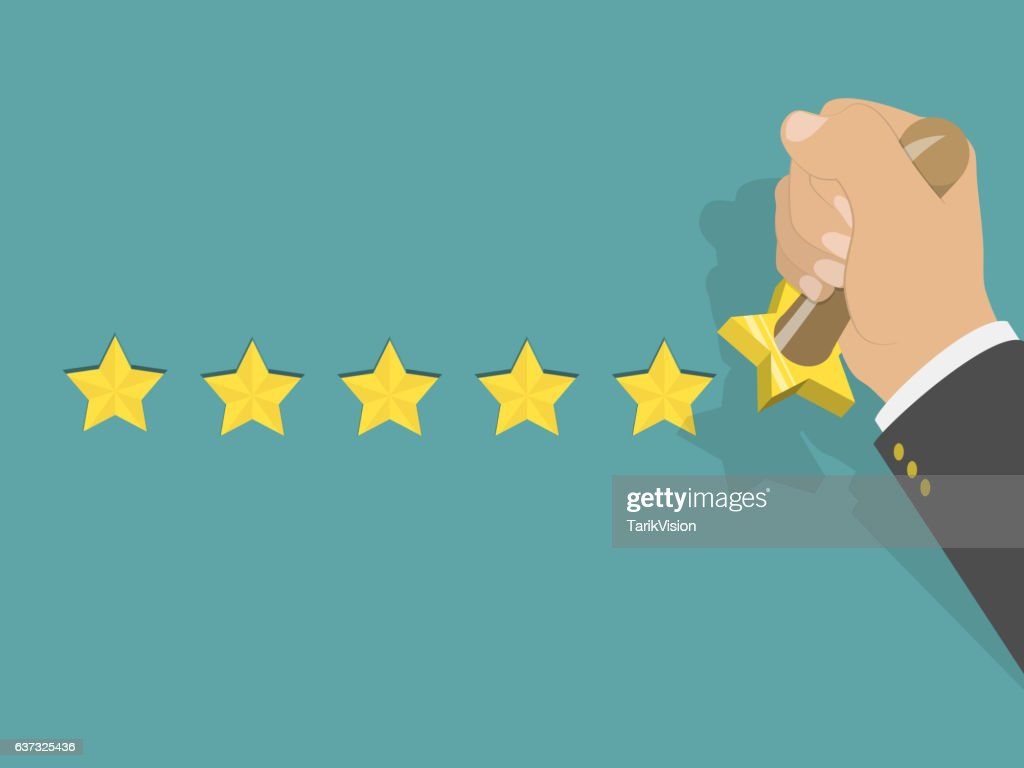 Five star rating isometric vector illustration.