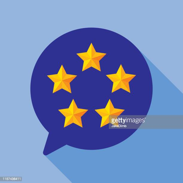 five star speech bubble round icon flat - five objects stock illustrations