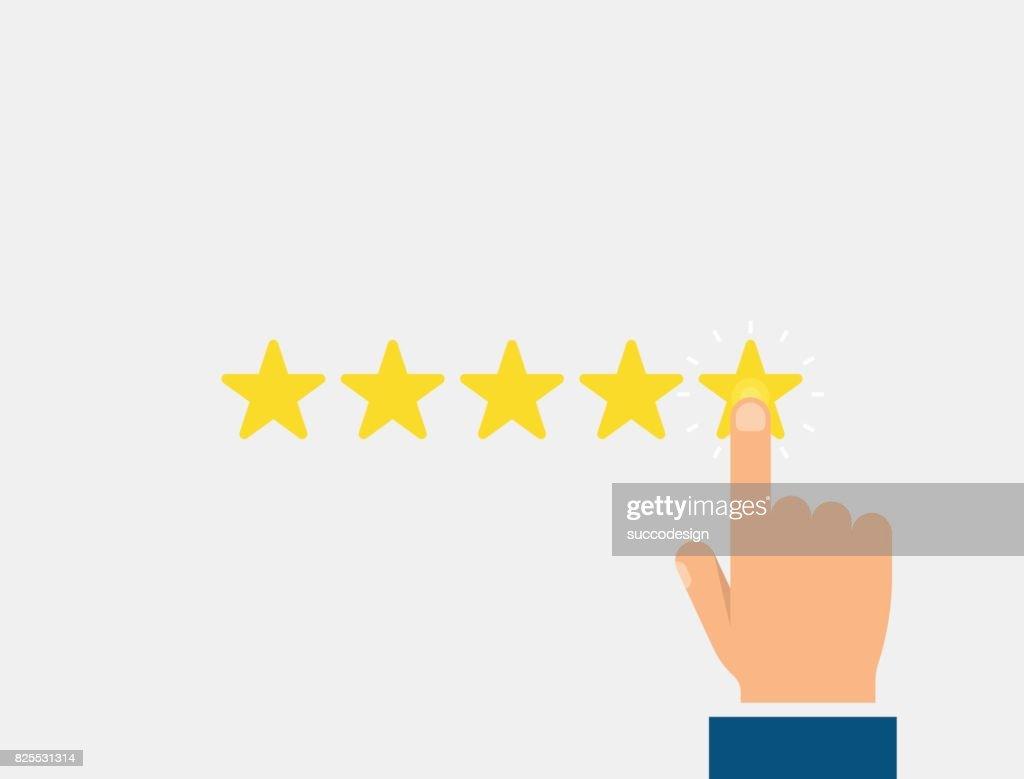 Five stars, customer reviews, rating, good feedback concept