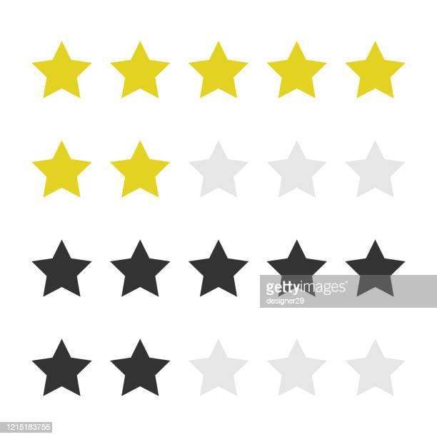 ilustraciones, imágenes clip art, dibujos animados e iconos de stock de diseño vectorial de icono de calificación de cinco estrellas sobre fondo blanco. - celebrities
