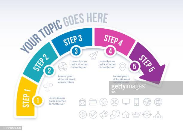 インフォグラフィックを前進させる5つのステップ矢印 - 五つ点のイラスト素材/クリップアート素材/マンガ素材/アイコン素材