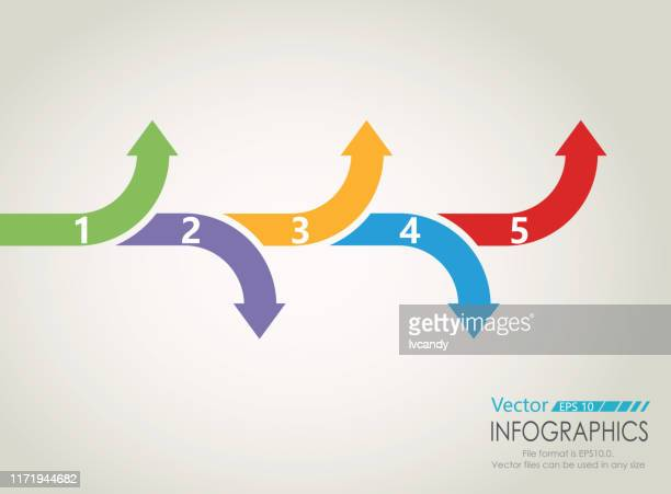 five steps arrows graph - number 3 stock illustrations