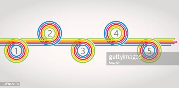 five steps arrows graph - colors of rainbow in order stock illustrations