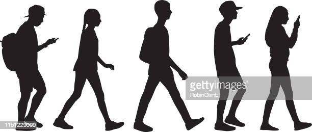 five teens walking in line - boys stock illustrations