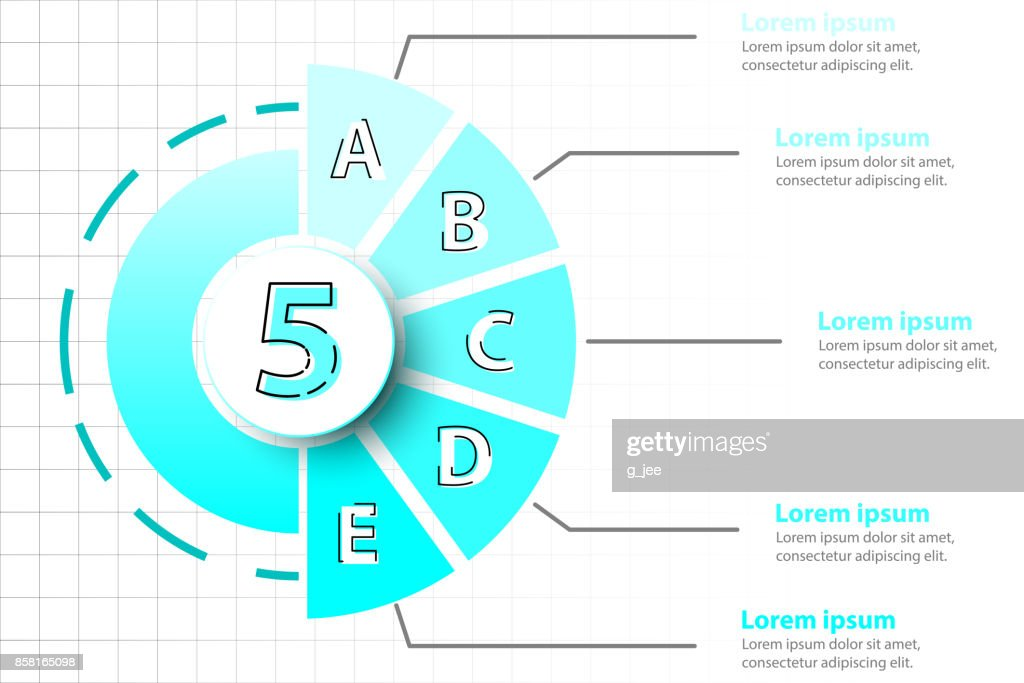 Five Topics Of Blue Half Pie Chart With 3d Paper Circle In Center
