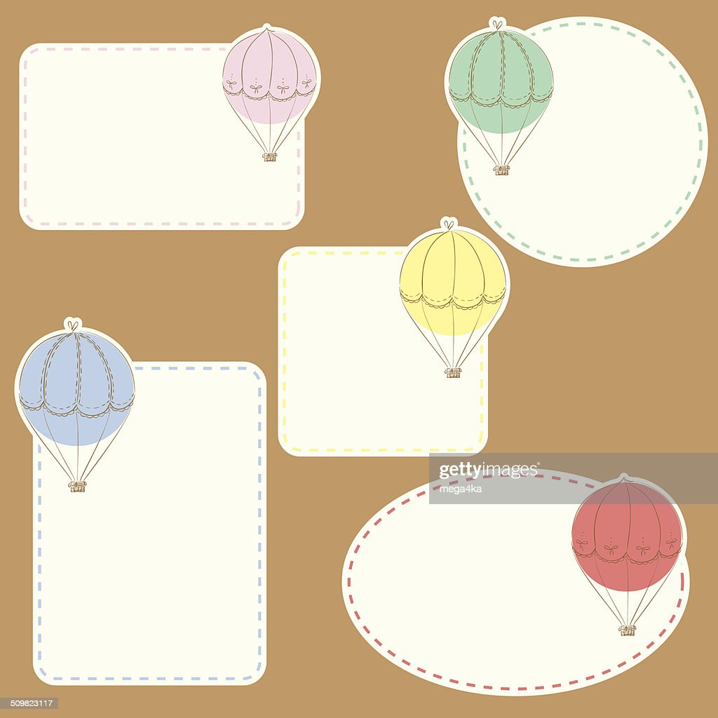 five travel tags with doodle air balloons collection