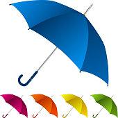 Five umbrellas of different colors