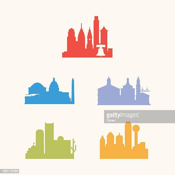 five united states cities skyline - philadelphia skyline stock illustrations