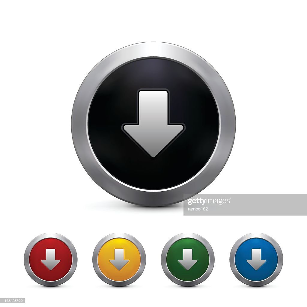 Five vectorized 3D download button in different colors