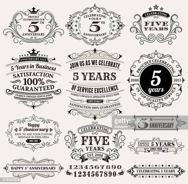five year anniversary hand-drawn royalty free vector background on paper - anniversary stock illustrations, clip art, cartoons, & icons