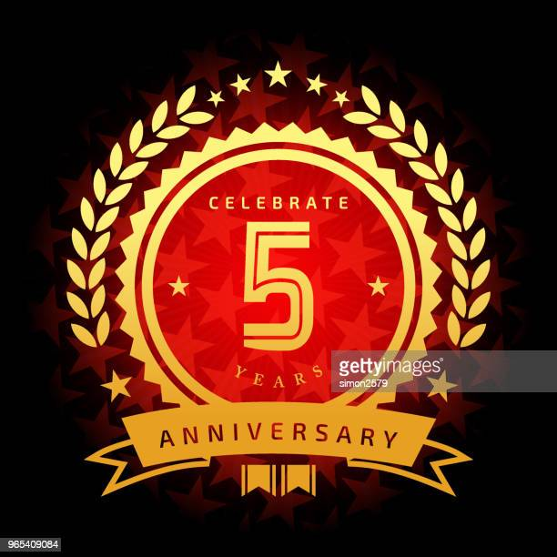 five year anniversary icon with red color star shape background - anniversary card stock illustrations