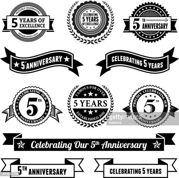 five year anniversary vector badge set royalty free vector background - anniversary stock illustrations